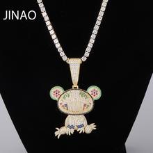 JINAO yeni bebek ayı hayvan kolye ve kolye ile tenis zinciri buzlu Out kübik zirkon parlayan erkek Hip Hop takı hediye