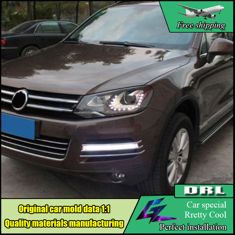 Car Styling LED Daytime Running Light For Volkswagen VW Touareg 2010 2011 2012 2013 2014 LED DRL Front Bumper Lamp Accessories free shipping fiber leather car floor mat rug for volkswagen touareg 2nd generation 2011 2012 2013 2014 2015 2016 2017