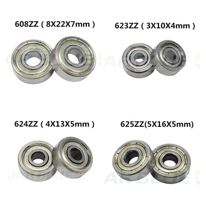 10PCS ABEC-7 Flange Ball Bearing 608zz 623zz 624zz 625zz 635zz 626zz 688zz 3D Printers Parts Deep Groove Flanged Pulley Wheel