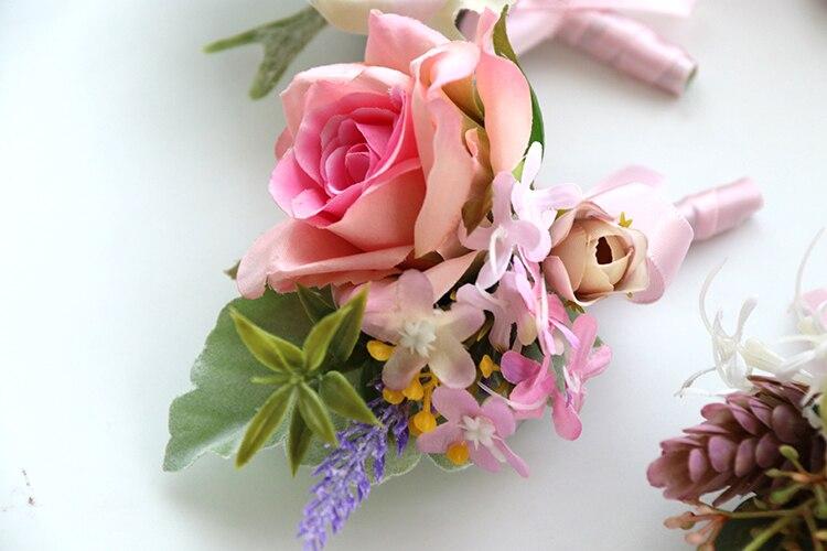 pink wrist corsage boutonniere wedding  (3)