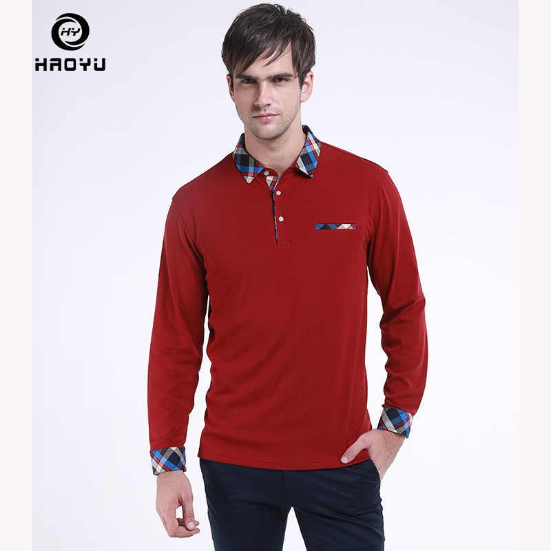 b73be390c9 2018 Men Clothes HAOYU New Arrival Polo Shirt Cotton Fashion Long Sleeve  Shirt Slim Fit Ribbon