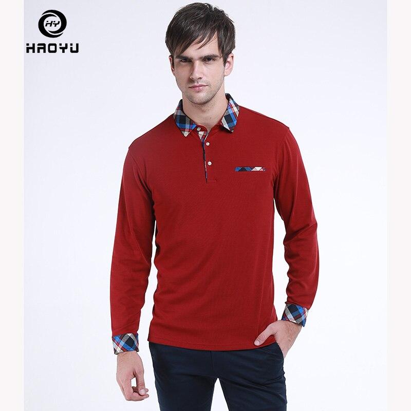 2018 Men Clothes HAOYU New Arrival   Polo   Shirt Cotton Fashion Long Sleeve Shirt Slim Fit Ribbon Design   Polo   Homme Tops Plus Size