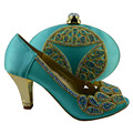 2016 Nigeria dress matching shoes and bags italy high quality african shoe and bag set for party in women,1308-L56 green color.