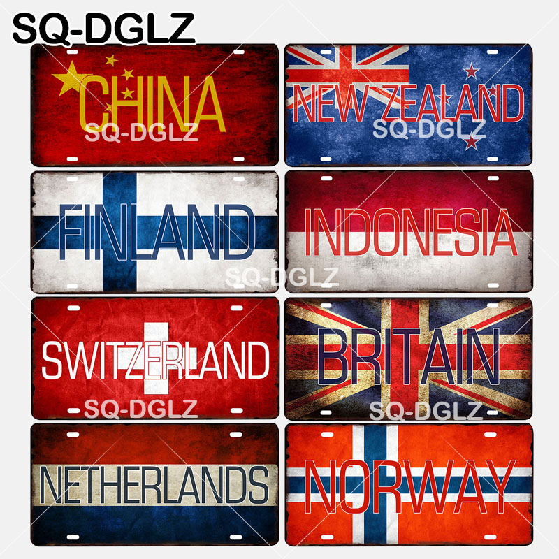 [SQ-DGLZ]China/New Zealand/Finland/Indonesia/Switzerland/Britain/Netherlands/Norway National Flag Metal Sign Wall Decor Plaques(China)
