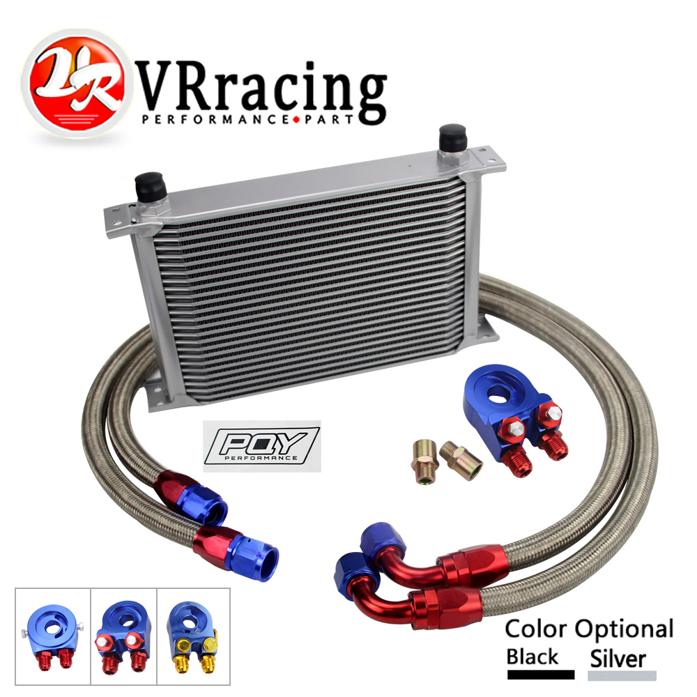 AN10 OIL COOLER KIT 25ROWS TRANSMISSION OIL COOLER + OIL FILTER ADAPTER +STAINLESS STEEL BRAIDED HOSE WITH PQY STICKER AND BOX epman universal 10 row oil cooler kit with oil filter relocation kit for turbo race ep ok1012