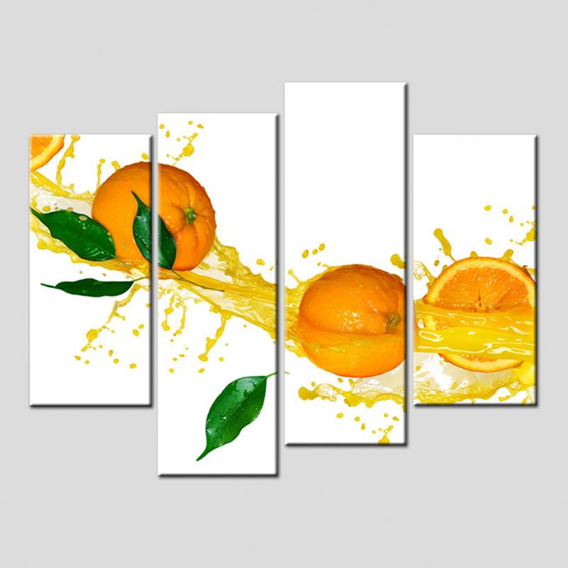 Top Auf Leinwand Panel Ungerahmt Frchte Leinwand Malerei Groe Wandbilder  Orange Guice Poster Fr Kche Zimmer With Bilder Fr Die Kche With Kruter An  Der Wand.