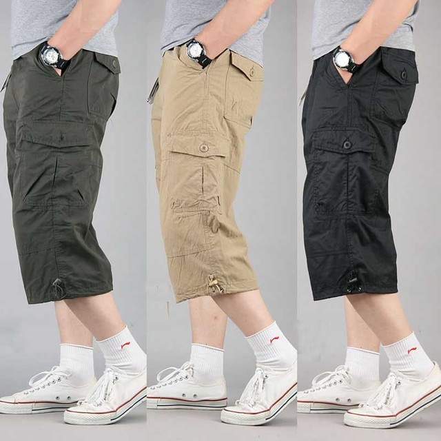 Zomer Korte voor Mannen Plus Size Cargo Shorts Casual Katoenen Strand Board Shorts met Multi Pocket Losse Baggy Joggers Kleding
