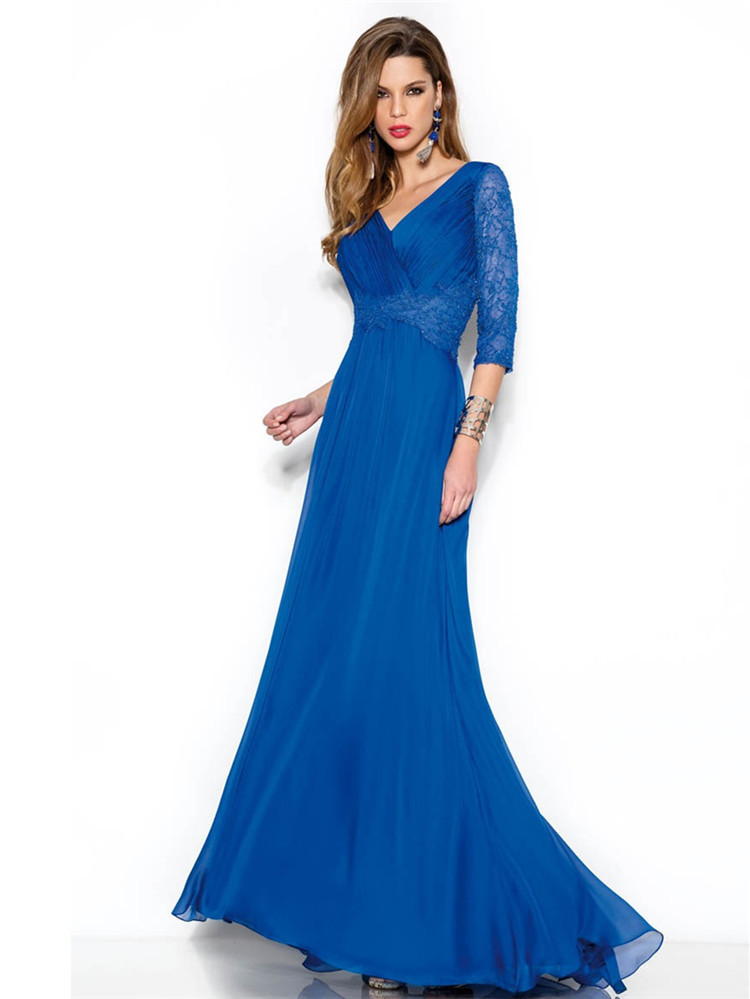 Fashion V Neck Custom Vestidos De Gala 2015 Evening Dress Elegant 3 4 Sleeves Vestido De Festa