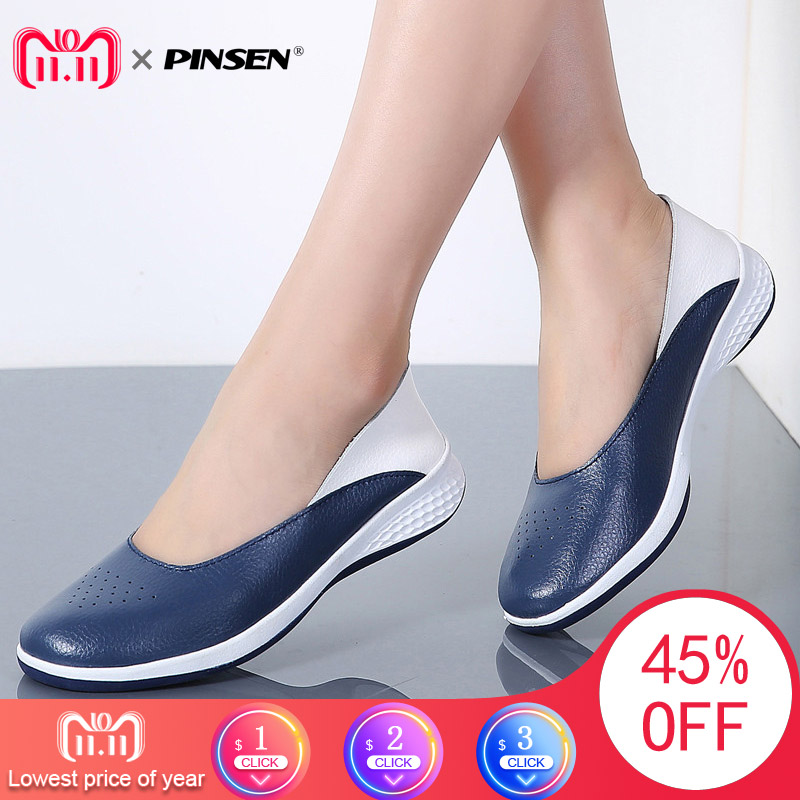 PINSEN 2018 Handmade New Summer Hole Loafers Women Flat Leather Moccasin Shoes Woman Slip On Ladies Shoes Casual Flats Moccasins pinsen brand women casual loafers breathable summer flat shoes woman slip on casual shoes new zapatillas flats shoes size 35 42