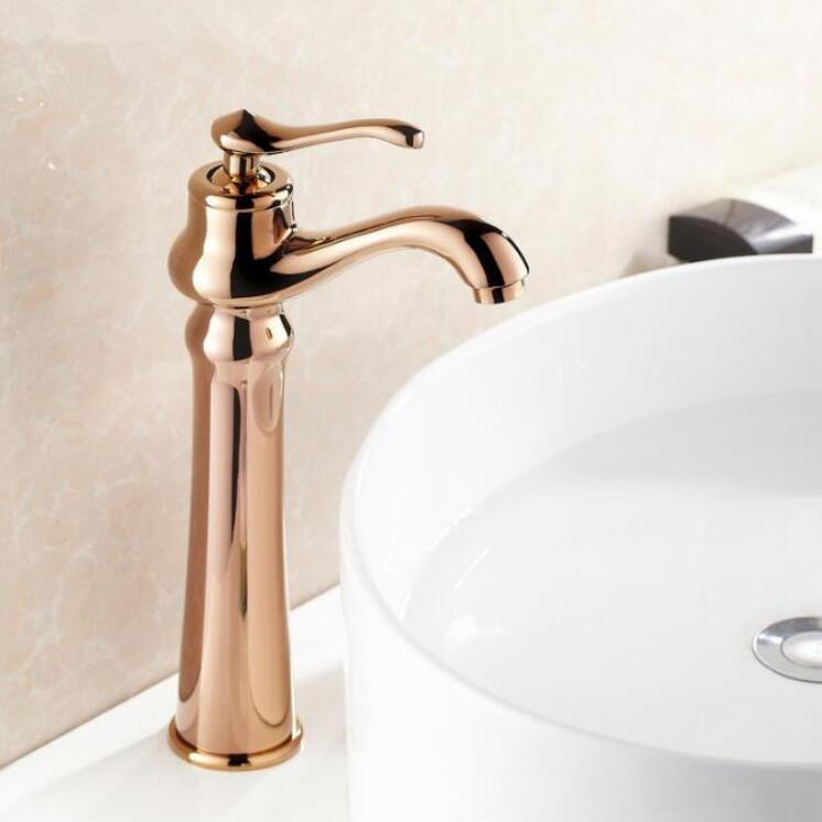Antique Brass Rose Gold Bathroom Sink Faucet One Hole/Handle ...