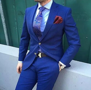 Fashion High Quality Royal Blue Men Business Suits ( Jacket+Pants+Tie ) Groom Suit Blue Mens Suits Wedding Groom Tuxedos For Men