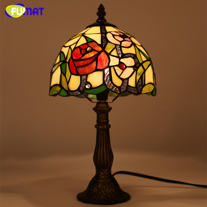 FUMAT Stained Glass Table Lamp Rose Bud Patterns Lightings For Living Room Bedside Light Creative Art Glass LED Table Lamps fumat stained glass pendant lamps european style glass lamp for living room dining room baroque glass art pendant lights led