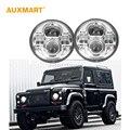 Auxmart 7 ''45 W H4 Chrome bisel interior Ronda LED Faros virutas DEL CREE Haz Hi-lo para Wrangler Jeep Land Rover Defender 1997-2015