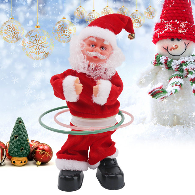 2018 santa claus doll electric christmas decorations for home desk table decor musical toys new year