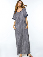 Middle East Abaya Casual Muslim Maxi Dress Loose Style Long Robe Kimono Cotton Summer Moroccan Burka