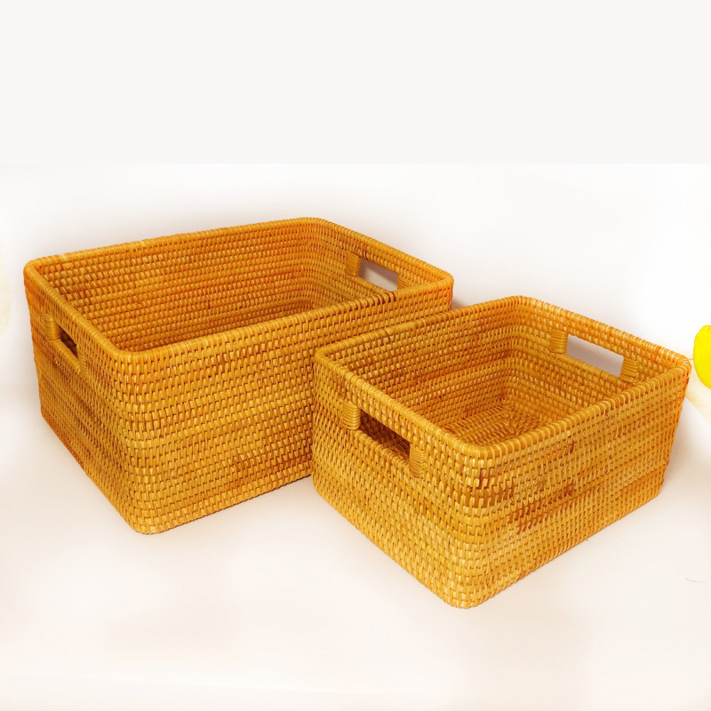 Vietnam rattan storage basket desktop coffee table clothing woven box fruit snack