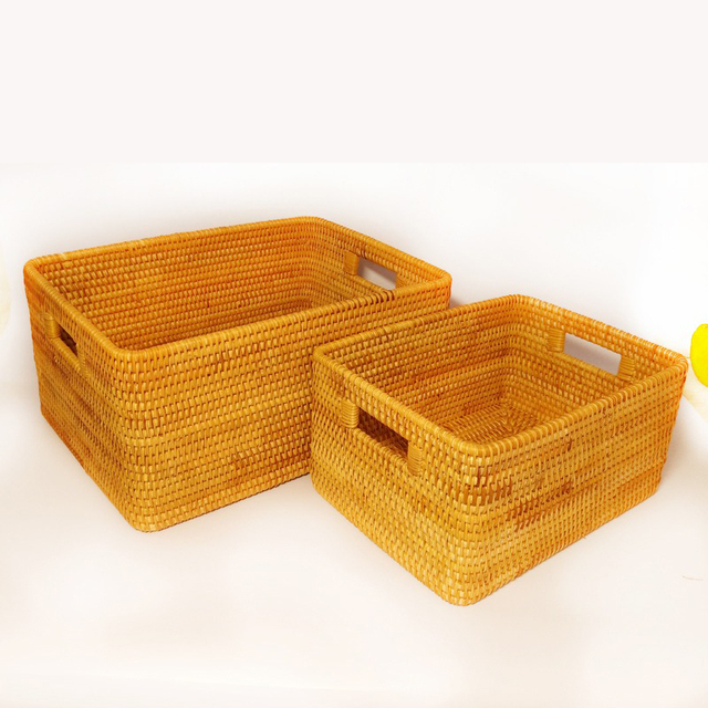 Vietnam Rattan Storage Basket Desktop Coffee Table Clothing Rattan Woven  Storage Box Fruit Snack Basket Storage
