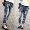 Clearance Ripped boyfriend jeans for women plus size oversized blue Jeans with holes baggy denim pants