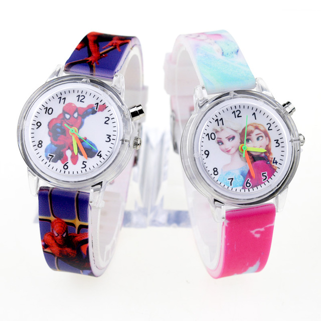 Princess Elsa Children Watches Spiderman Colorful Light Source Boys Watch Girls Kids Party Gift Clock Wrist Relogio Feminino 1