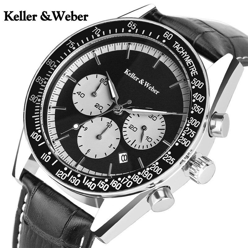 Keller & Weber Original Watch Men's Formal Dress Clock Male Chronograph Genuine Leather Hour Clock Reloj Hombre Mens Watches NEW