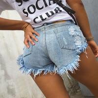 Vintage Ripped Hole Fringe Black White Blue Denim Shorts Women Casual Pocket Jeans Shorts 2017 Summer