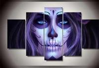 5D Diy Diamond Painting Skull Woman Cross Stitch Halloween Decorative Full Square Diamond Embroidery 5pcs set wall picture