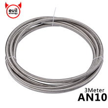 evil energy AN10 3Meter Stainless steel Oil PTFE Hose Gasoline Brake Line Hose Oil Cooler Racing Hose Fuel Oil Line vr racing an10 oil cooler kit 28 rows oil cooler oil filter adapter nylon stainless steel braided hose with pqy sticker box