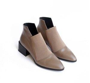 Image 5 - Botas de estilo chelsea para mujer, botines de piel auténtica suave sin cordones, puntiagudas, estilo clásico, liso, para primavera, L83