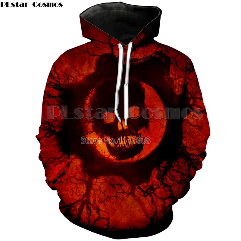 PLstar Cosmos Men Hoodie Sweatshirts Blood skull 3D Print Fashion Casual Pullovers Streetwear Tops Spring Autumn Hot Hipster