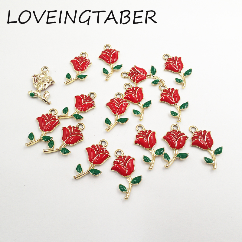 ( Choose Color Frist ) Wholesale 20mm 13mm 30pcs lot Rose Flower Charms  Small Pendants Jewelry Handmade DIY Making Accessories-in Charms from  Jewelry ... 31b074c8ce21