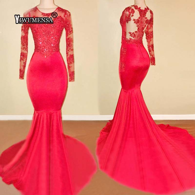 yiwumensa Red Prom Dresses 2018 Sheer Tulle Long Sleeve Appliques Lace Mermaid Long  African Prom Dress Custom made Party Gowns