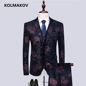 (Пиджак + жилет + брюки) Новый мужской костюм с принтом, 2019 классические костюмы из 3 предметов для мужчин, деловой костюм для отдыха, высокока...