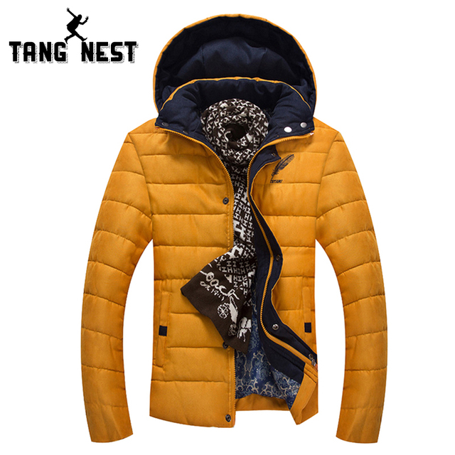 TANGNEST Winter Hat Detachable Solid Color Warm Hot Selling Parka Male New Arrival Fashion Newest Design Coat MWM1532