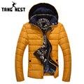 Tangnest invierno desmontable sombrero color sólido caliente venta caliente parka hombres nueva llegada de la manera más nuevo diseño escudo mwm1532