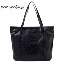 Woweino New Women Crocodile Handbags Ladies Alligator Fashion Style Shoulder Bags Shopper Zipper Large Capacity Tote PU Leather