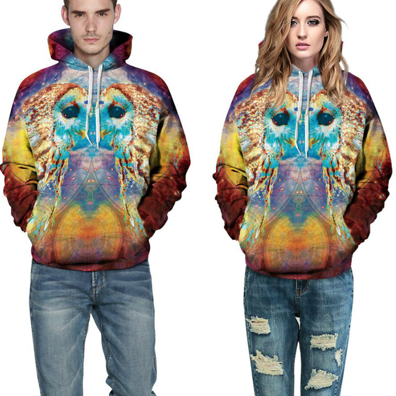 New 2018 Autumn Women Men Creative 3D Hooded Clothing Cartoon Owl Galaxy Print Sweatshirt Front Pocket Loose Fit Drawstring Tops