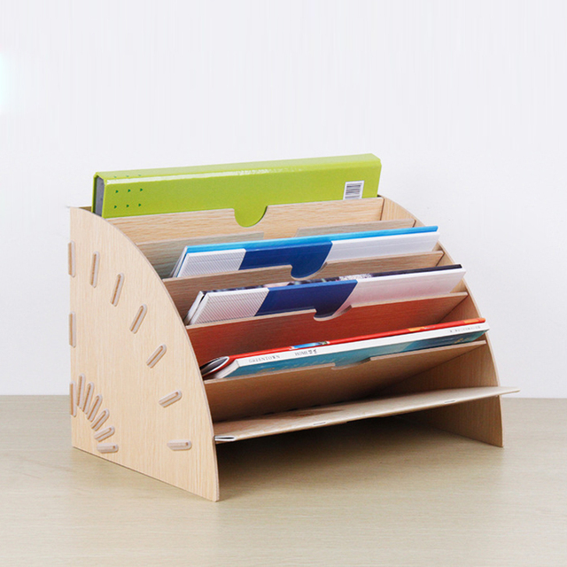 New Creative Wooden Diy Multifunction Office Desk Doent Trays School Teachers Multi Sector Doentation