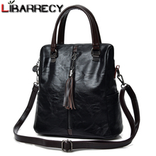 Fashion Tassel Womens Backpack Multifunction Backpacks for Women Large Capacity School Bag for Girls Leather backpack female