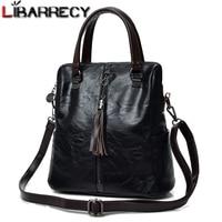 Fashion Tassel Women's Backpack Multifunction Backpacks for Women Large Capacity School Bag for Girls Leather backpack female