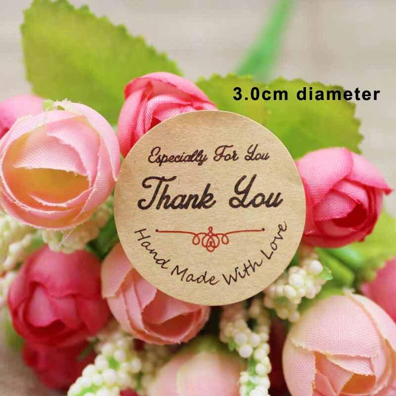 1000pcs per lot 3 0cm round kraft paper sticker lable custom logo made gift self adhesive