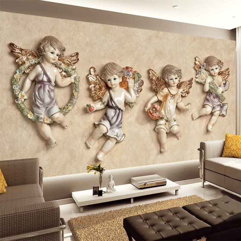 Photo Wallpaper European Style 3D Stereo Little Angel Murals Living Room TV Background Wall Children Bedroom Home Decor 3D Mural