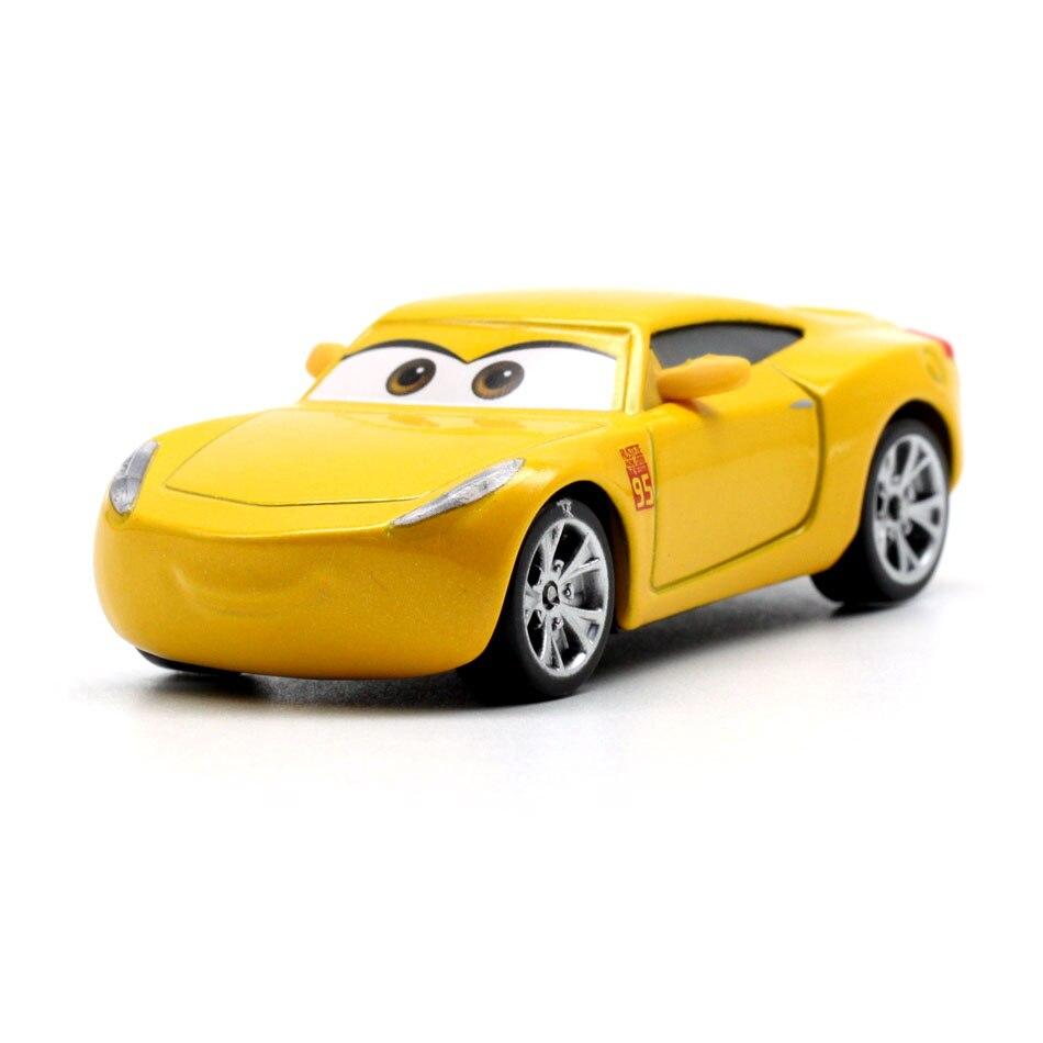 Купить с кэшбэком Disney 18 Style Pixar Cars 3 Lightning McQueen Jackson Storm Dinoco Cruz Ramirez 1:55 Diecast Metal Toys Model Car Birthday Gift