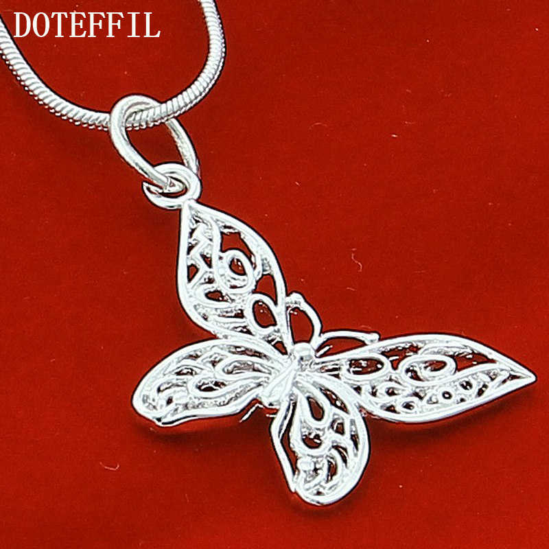 925 Silver Color Butterfly Necklaces Pendants For Women Elegant Butterfly Short Necklace Sterling Silver Jewelry
