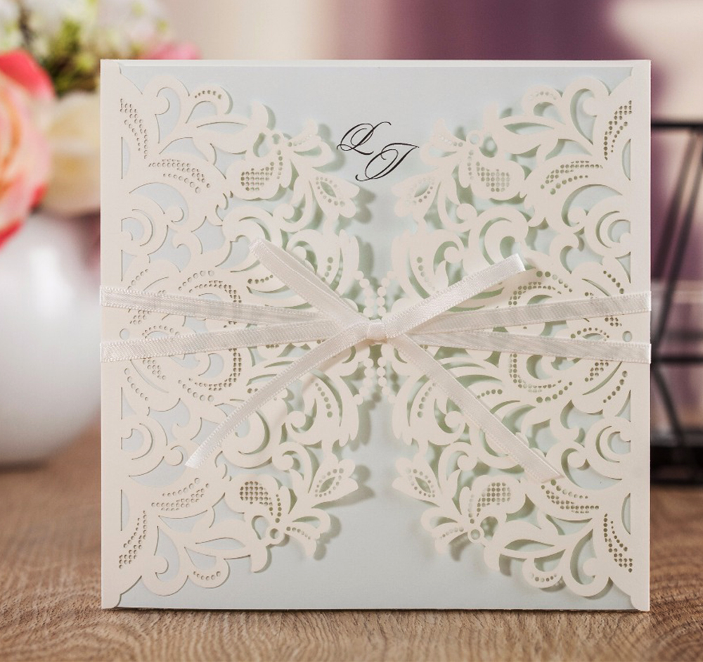 WISHMADE Elegant Wedding Invitations with White Light Blue Inne Paper Ribbon Lovely Floral Laser Cutting Engagement Cards AW7015