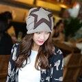 Осень зима женская мода двойной звезды согреться завернутый голову высокое качество шлема спорта на открытом воздухе беременных женщин cap