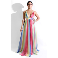 Sexy V Neck Backless Maxi Dress Women Gradual Rainbow Color Loose Long Dress Spaghetti Strap Summer