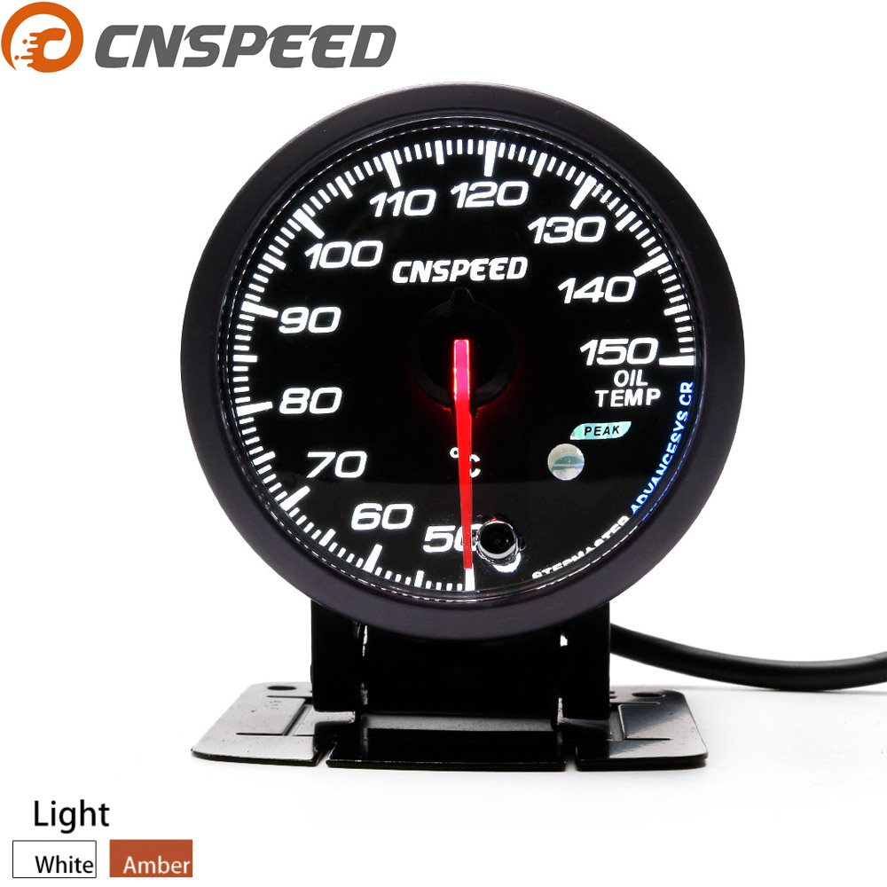 Free Shipping CNSPEED 60MM Auto Oil temp gauge 50-150C Led light Peak Function Oil temperature gauge Car meter with Sensor