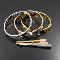 Wholesale Titanium Steel Carter Love Bracelets Bangles Couple Screwdriver Jewelry With Stones Uniesx Pulseira Feminina Masculina