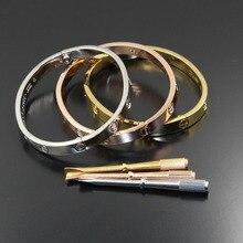 Venta al por mayor Titanium acero Carter amor pulseras brazaletes pareja destornillador joyería con piedras uniesx pulseira feminina masculina
