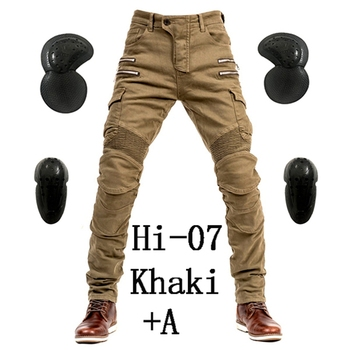 2019 New Khaki Motorcycle Pants Black Men Moto Jeans Zipper Protective Gear Blue Motorbike Trousers Motocross Pants Moto Pants - Hi-07 Khaki A, M